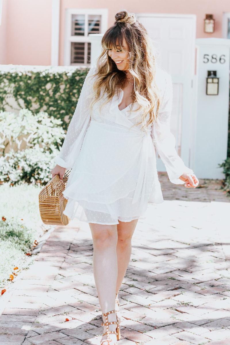 White swiss dot wrap dress ofr spring_-7