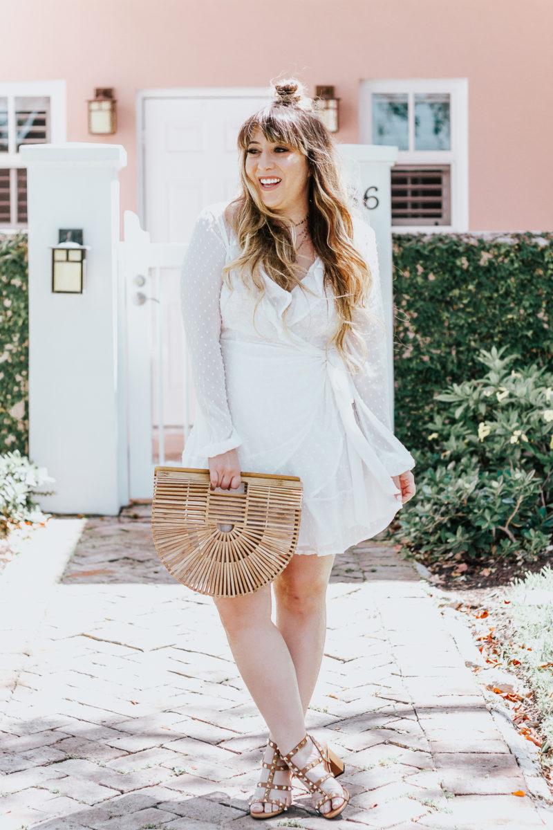 White swiss dot wrap dress ofr spring_