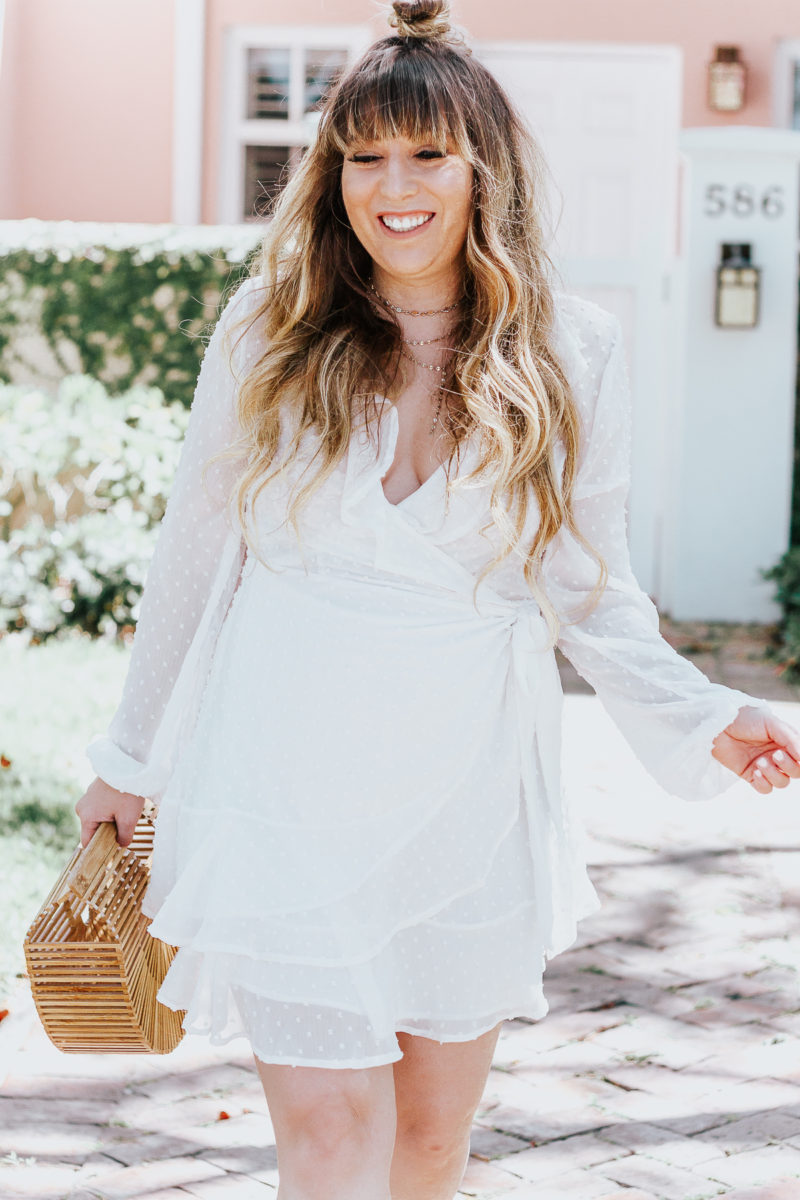 White swiss dot wrap dress ofr spring_-9