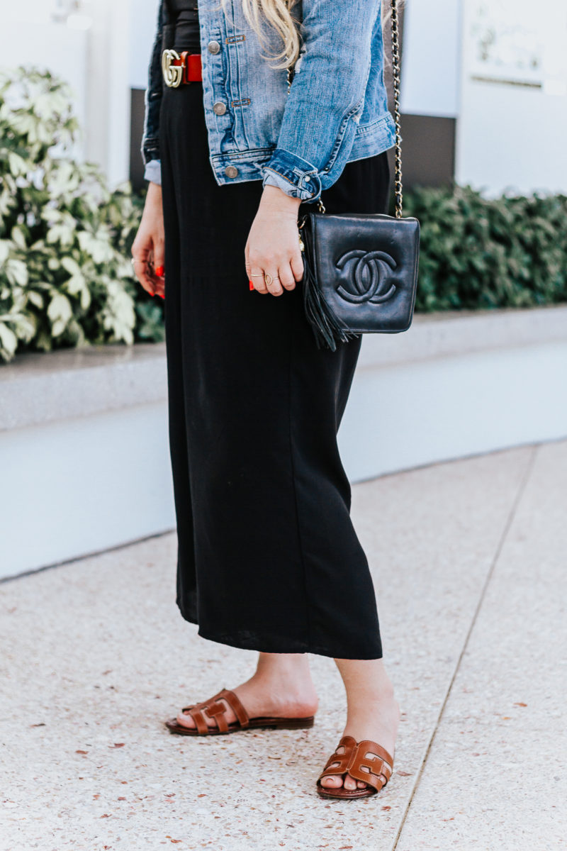 Black culotte jumpsuit outfit for spring-18