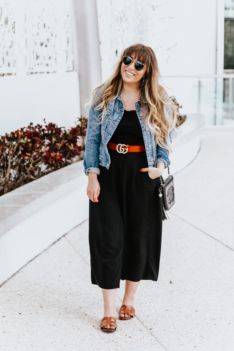 Black culotte jumpsuit outfit for spring-5