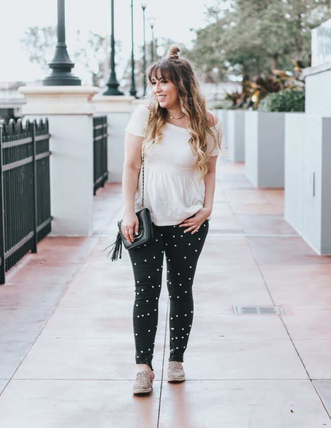 Off the shoulder top + black pearl jeans outfit for spring