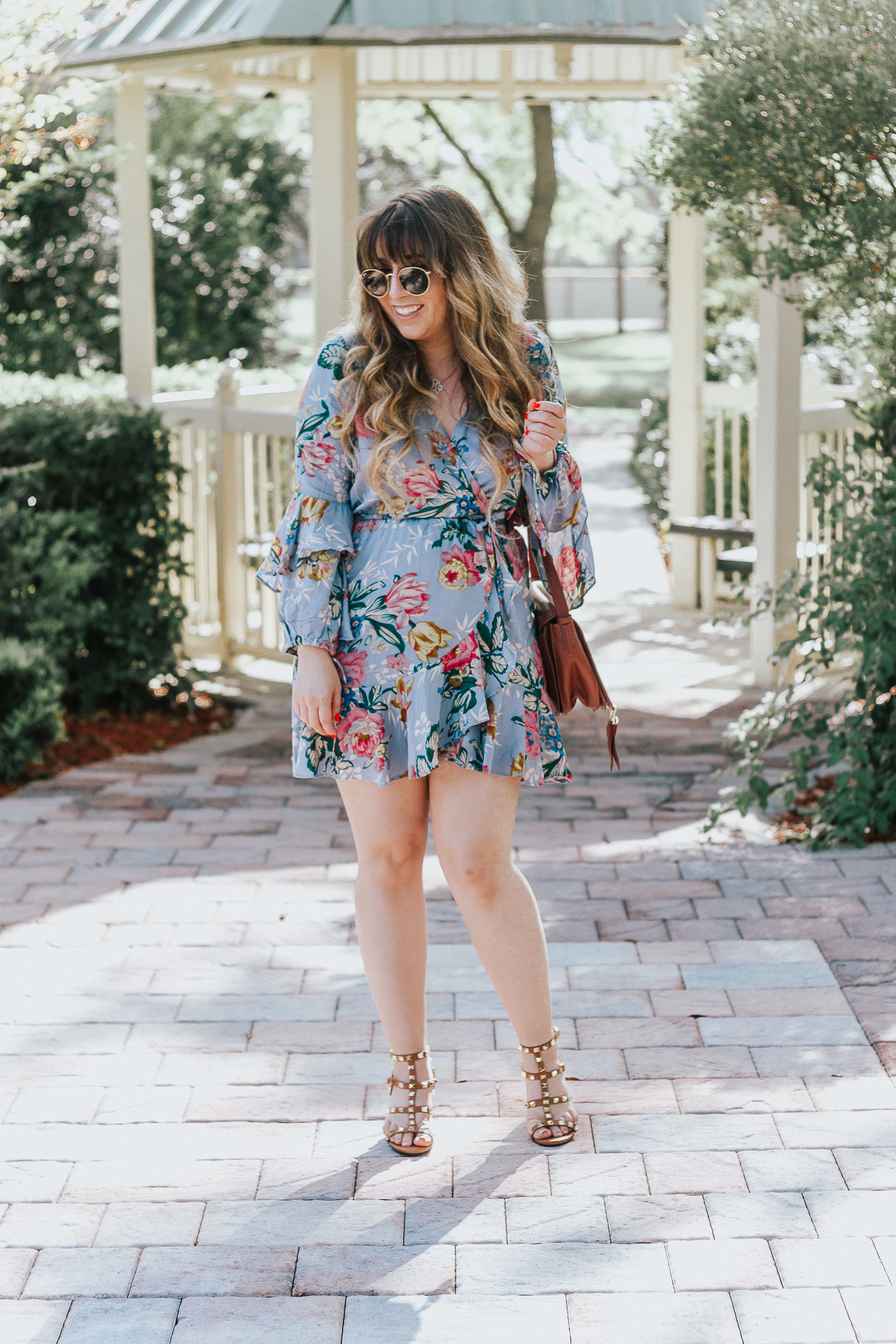 Shein blue floral wrapdress-6