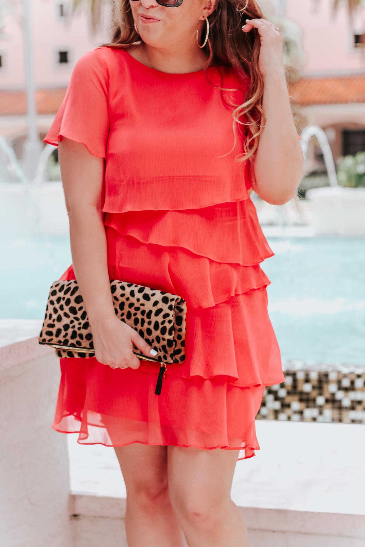 Coral ruffle minidress-11