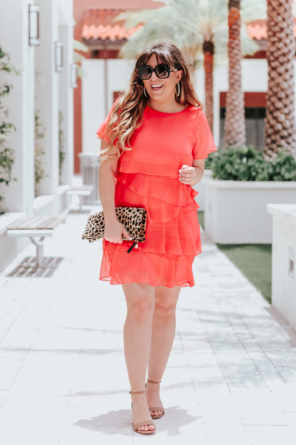 Coral ruffle minidress-3