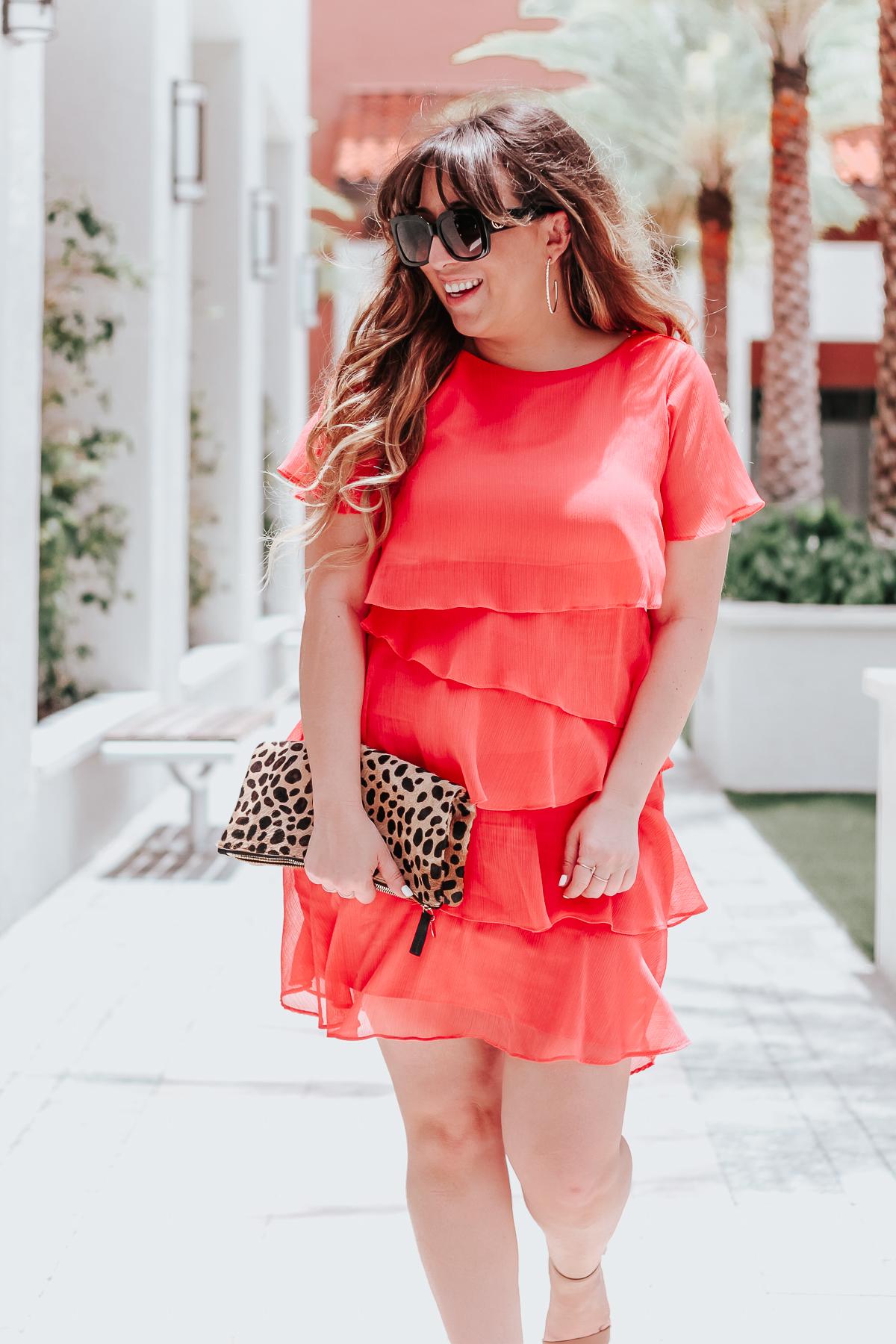 Summer dress, coral minidress, coral ruffle dress, Tahari ASL dress