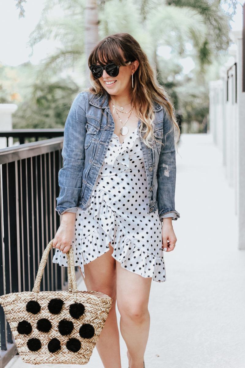 Polka dot wrap dress outfit + jean jacket-2