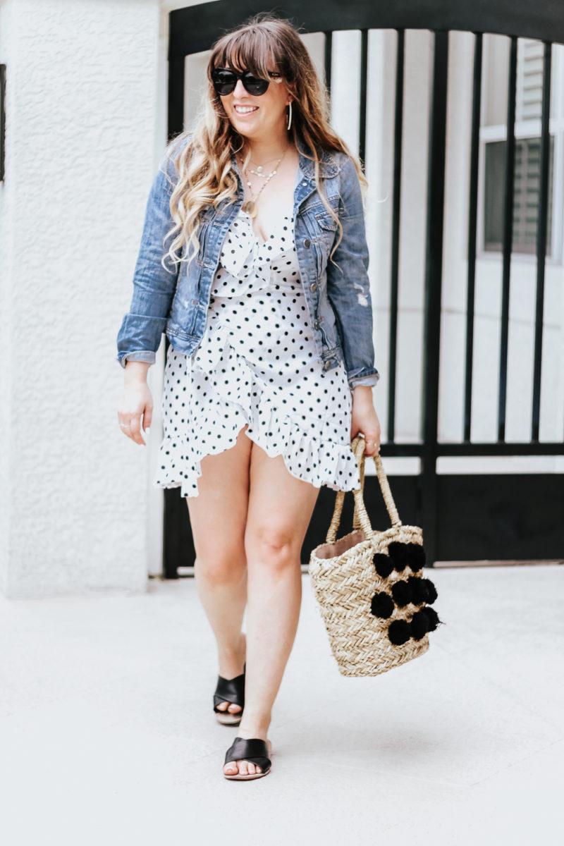 Polka dot wrap dress outfit + jean jacket-5