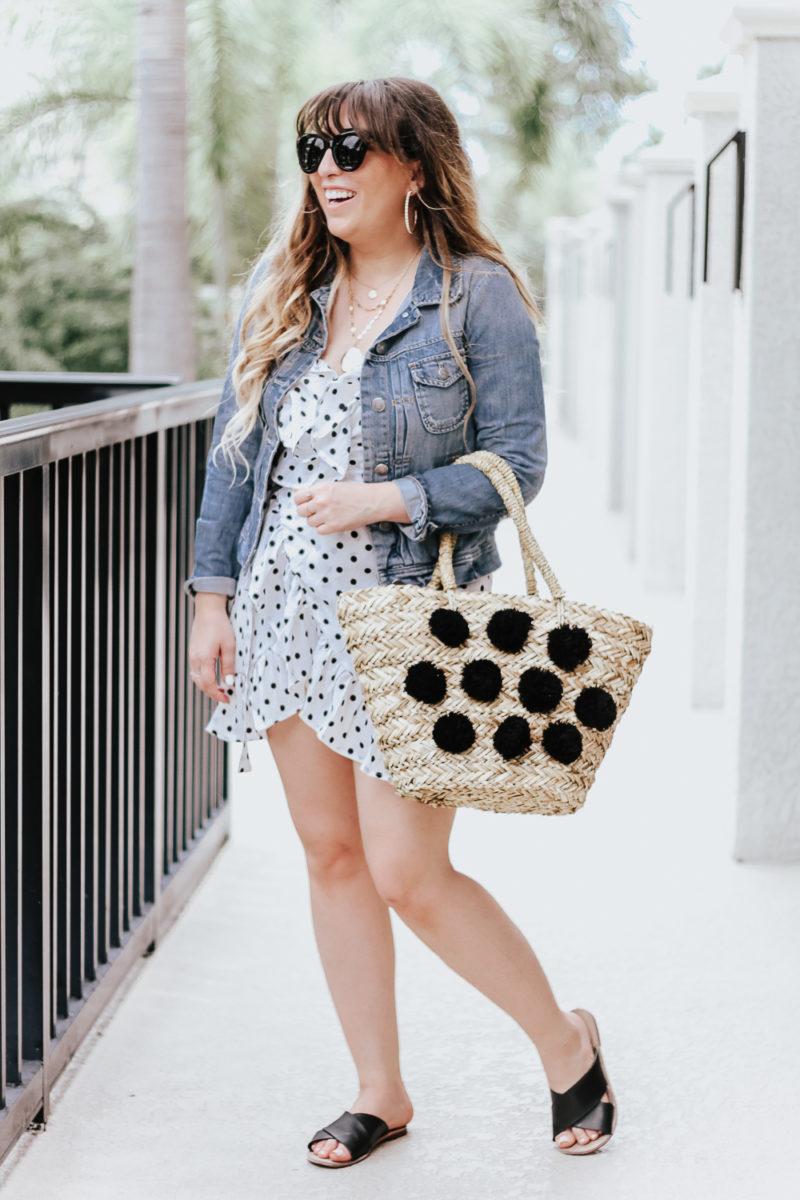 Polka dot wrap dress outfit + jean jacket-6