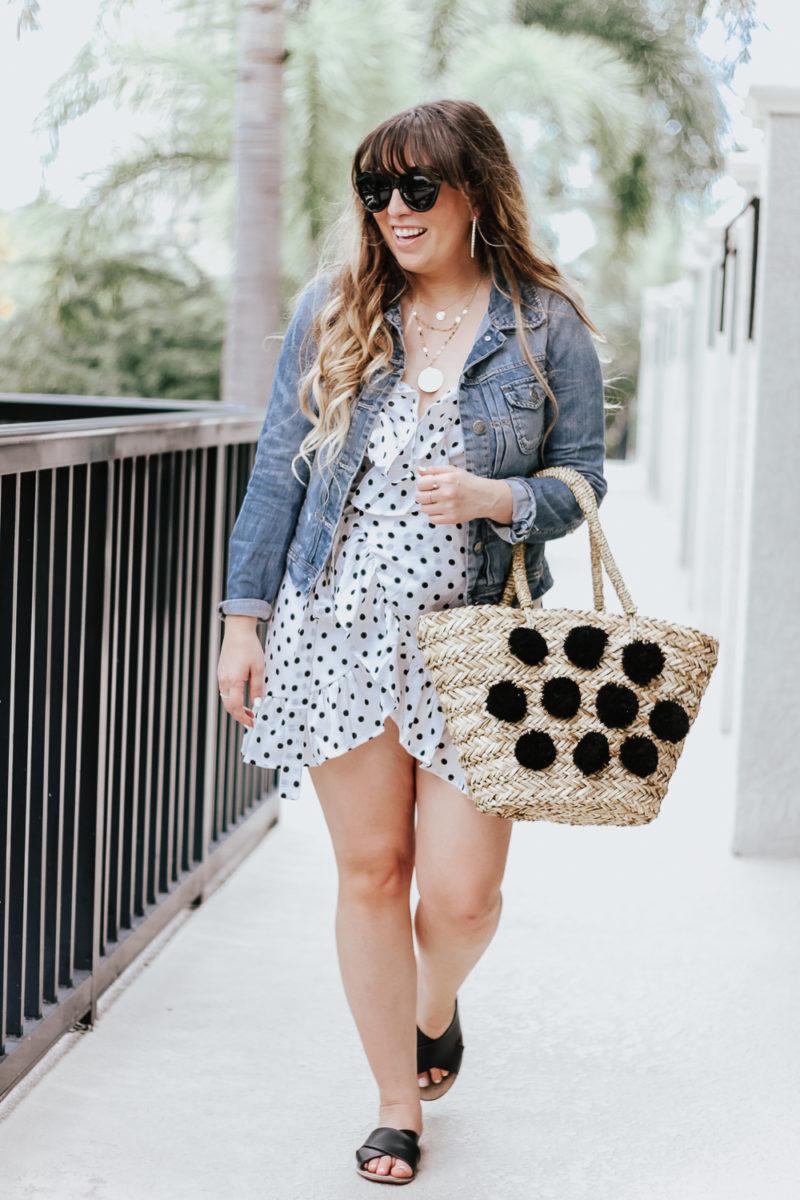 Polka dot wrap dress outfit + jean jacket-7