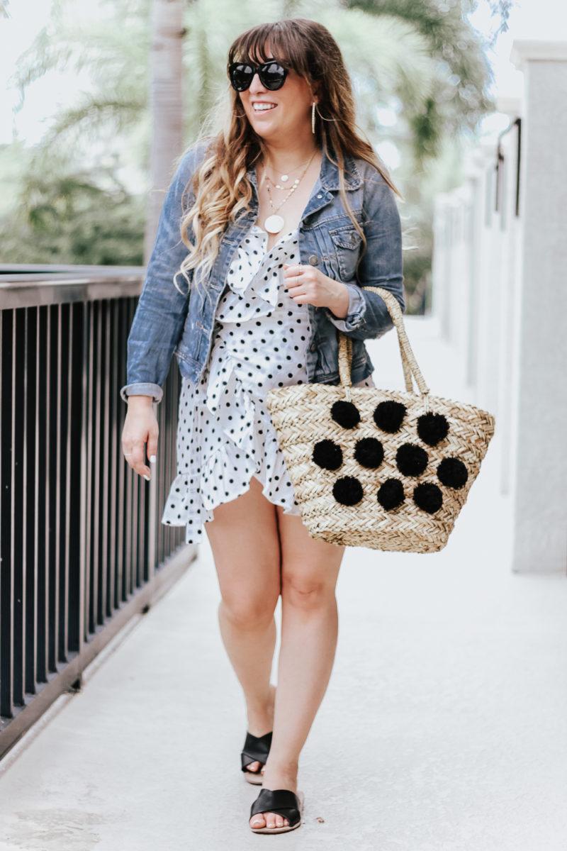 Polka dot wrap dress outfit + jean jacket-8