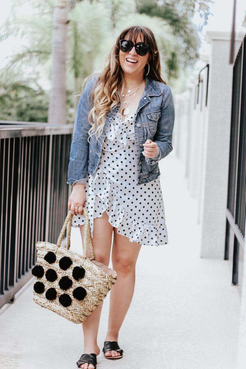 Polka dot wrap dress outfit + jean jacket-9