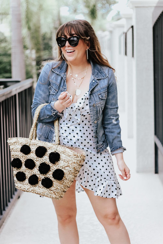 Polka dot wrap dress outfit + jean jacket