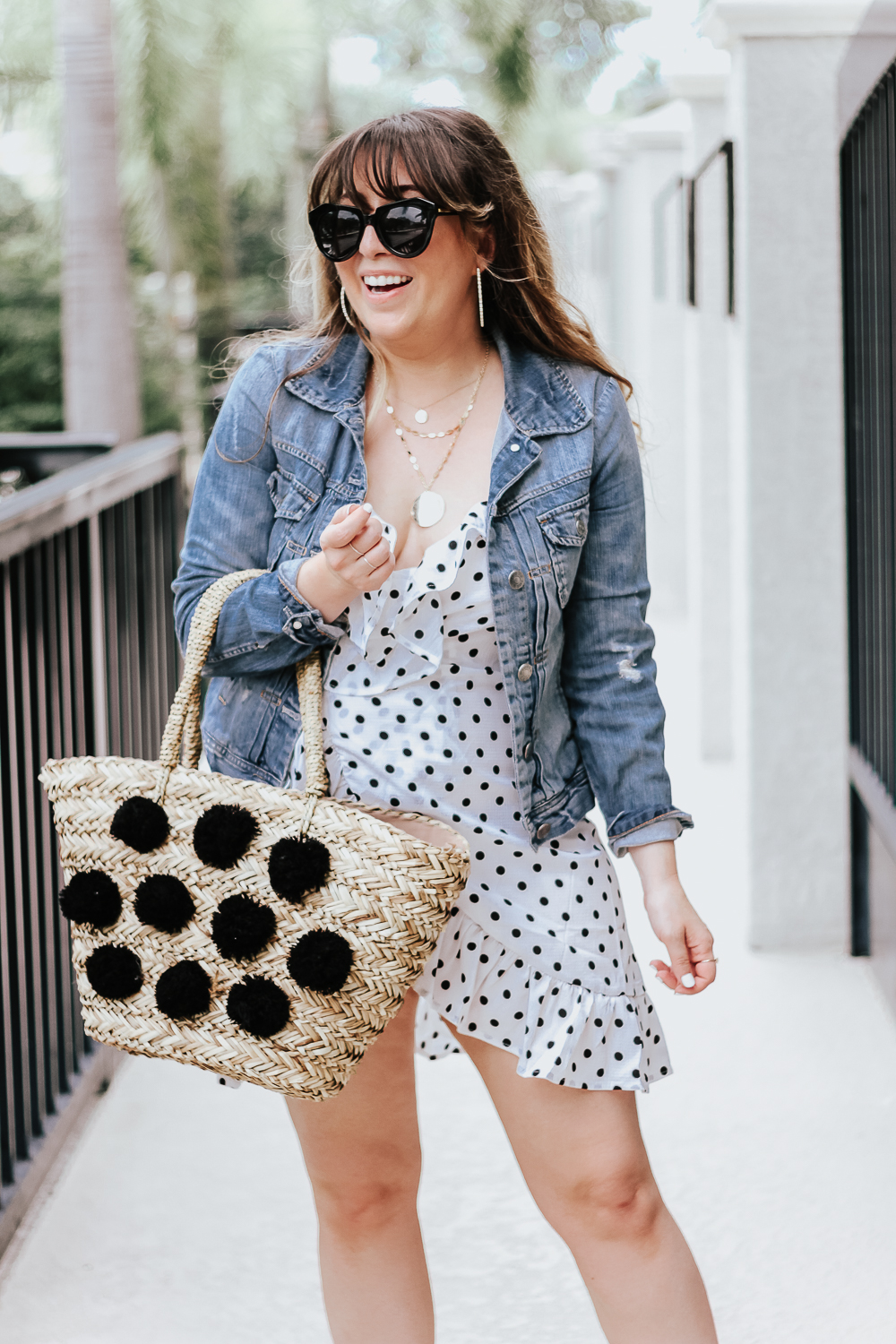 Polka dot wrap dress outfit + jean jacket