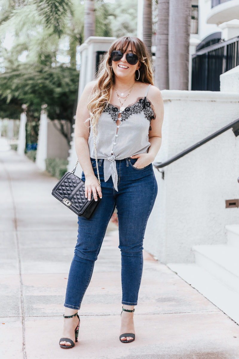 Stripe tie top + jeans casual summer outfit