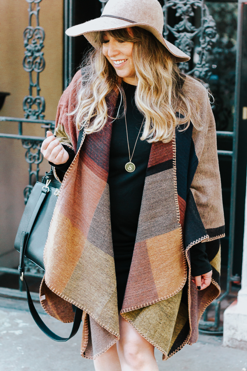 Fall outfit idea – plaid poncho + bodycon dress-12