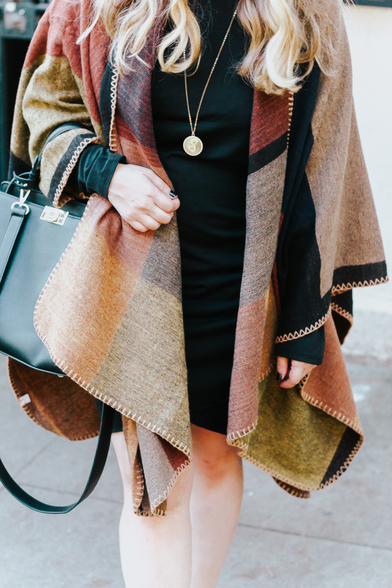 Fall outfit idea – plaid poncho + bodycon dress-13