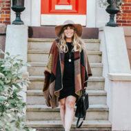 Fall outfit idea - plaid blanket poncho + bodycon dress