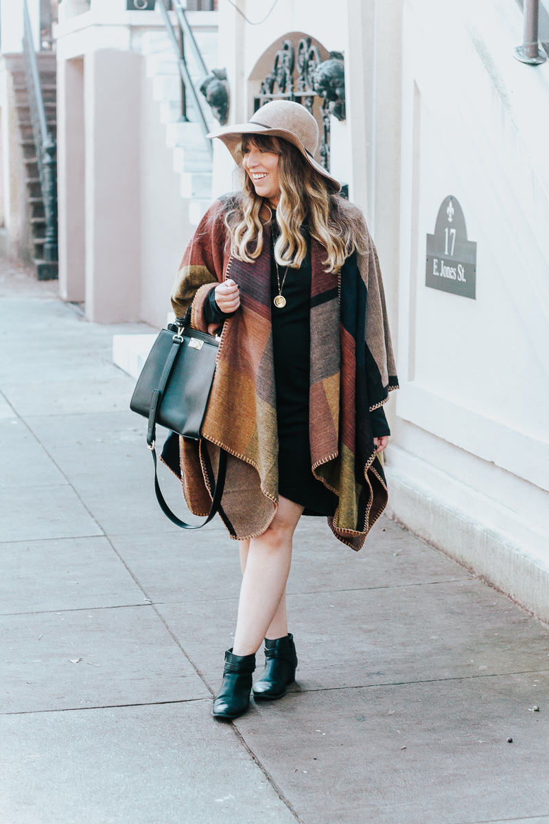 Fall outfit idea – plaid poncho + bodycon dress-3