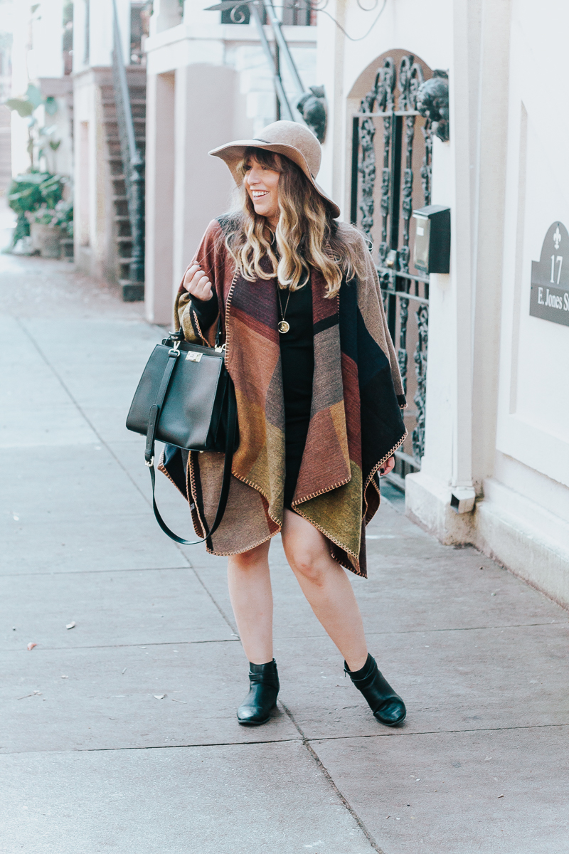 Fall outfit idea - plaid blanket poncho + bodycon dress