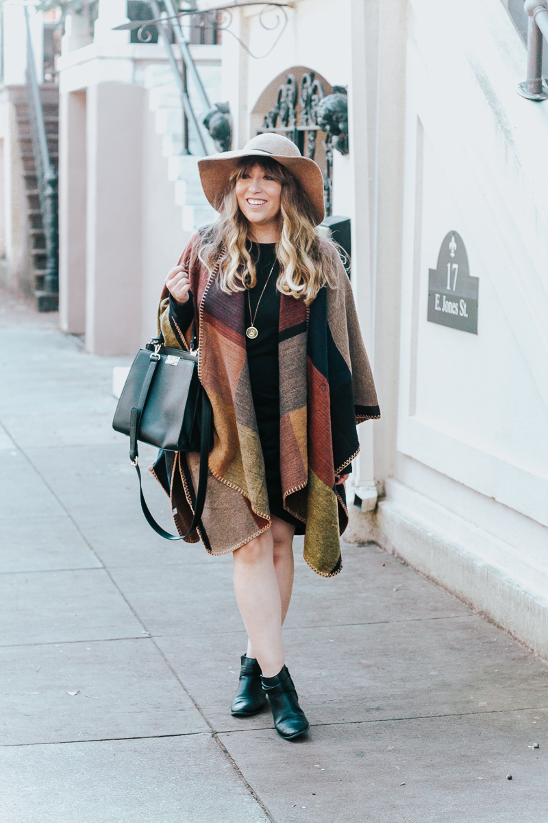 Fall outfit idea – plaid poncho + bodycon dress-8