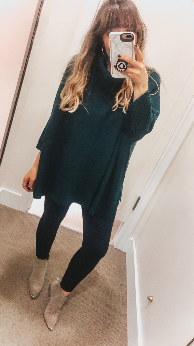 LOFT Friends + Family Sale Try On Session – emerald poncho and jeans outfit