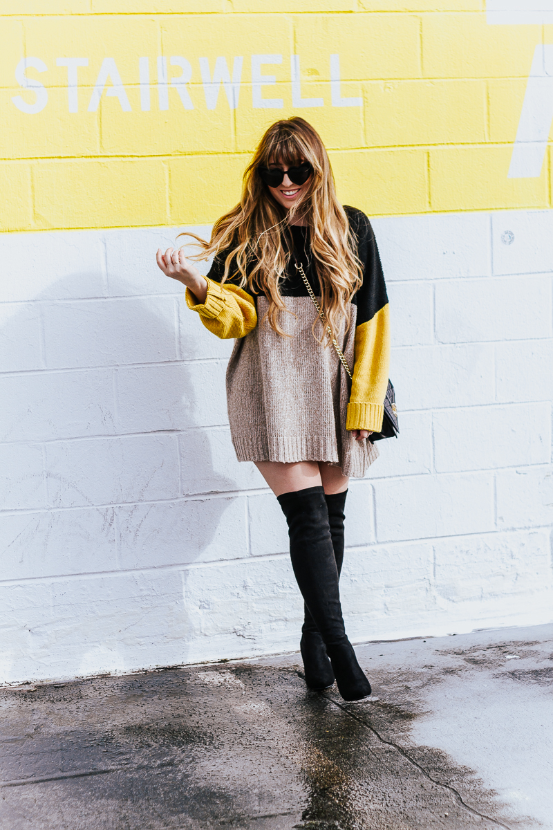 Colorblock sweaterdress + over the knee boots