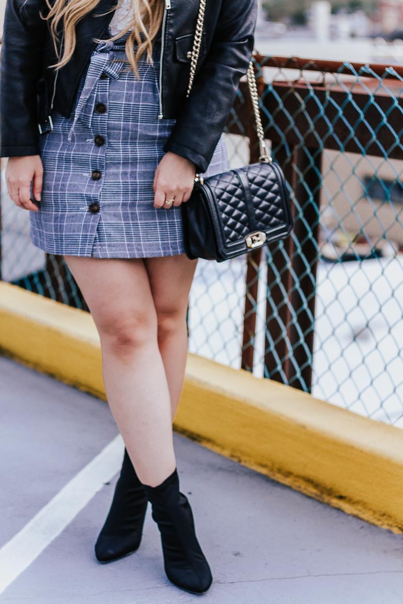 Plaid skirt + leather jacket-10