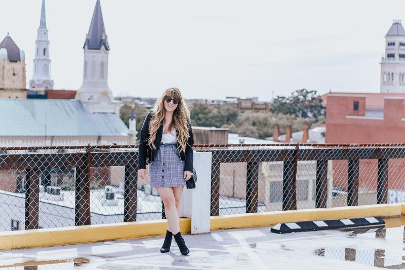 Plaid skirt + leather jacket-3