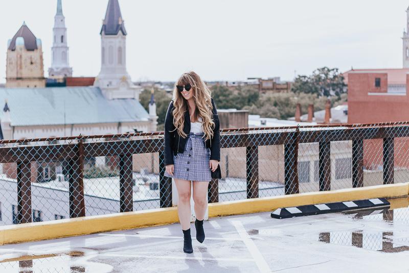 Plaid skirt + leather jacket-4