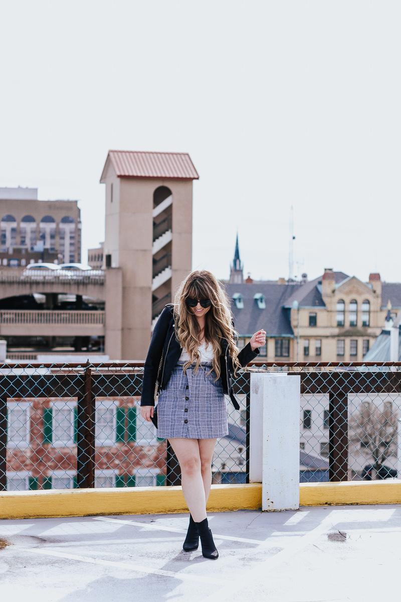 Plaid skirt + leather jacket-5