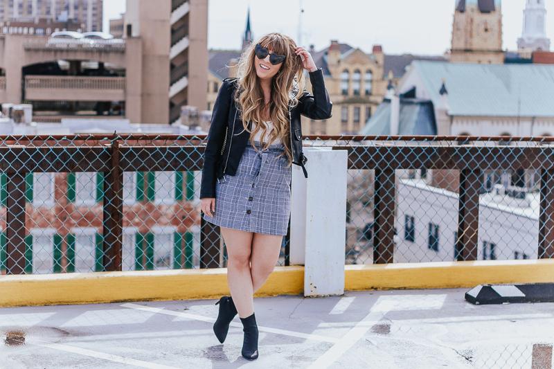 Plaid skirt + leather jacket-6