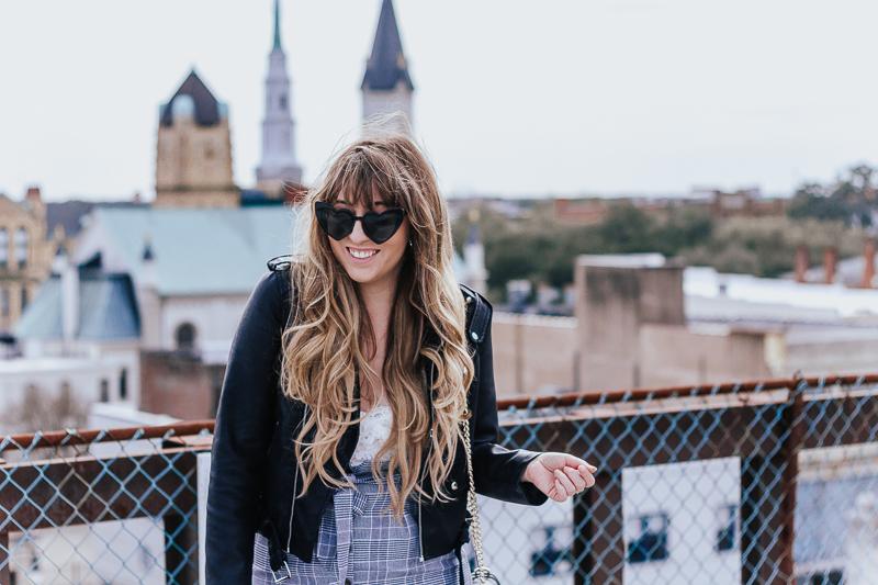 Plaid skirt + leather jacket-7