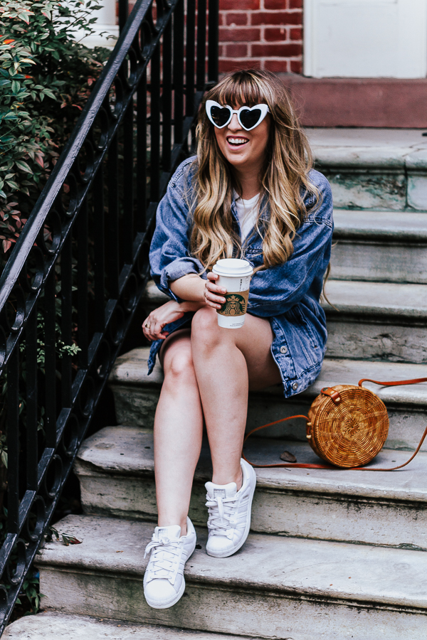 Plaid skirt + white tee + oversized jean jacket outfit for spring-2
