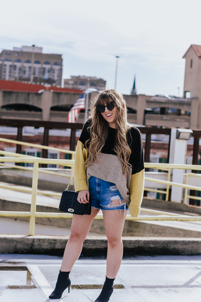 Spring Outfit Idea- jean shorts + sweaters-4