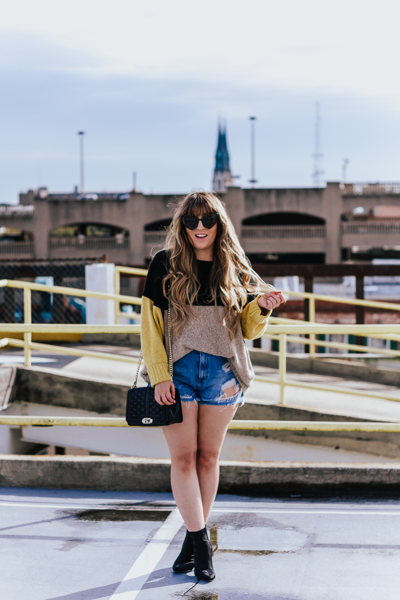 Spring Outfit Idea- jean shorts + sweaters-5