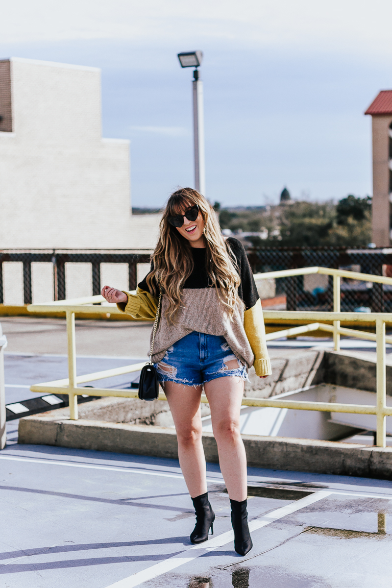 Spring Outfit Idea- jean shorts + sweaters-6