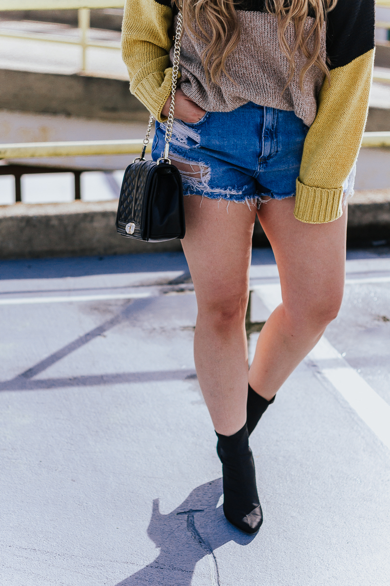 Spring Outfit Idea- jean shorts + sweaters-8