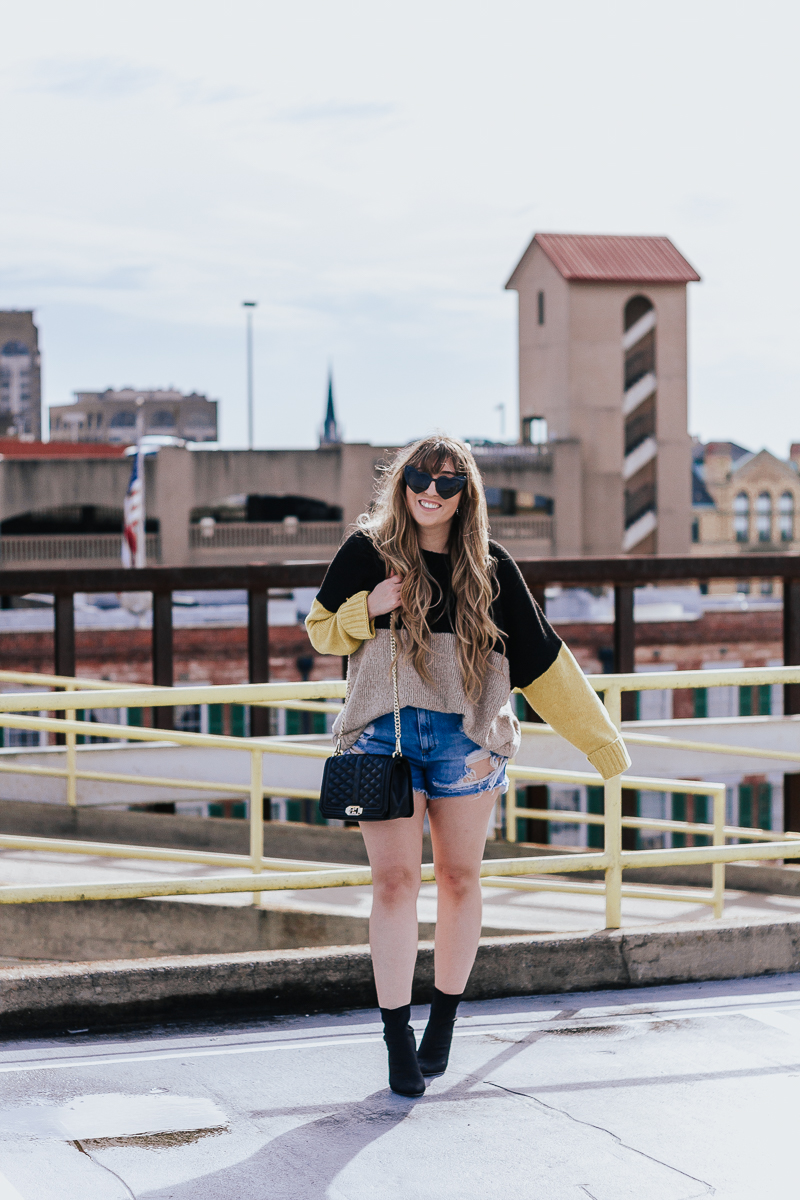 Spring Outfit Idea- jean shorts + sweaters