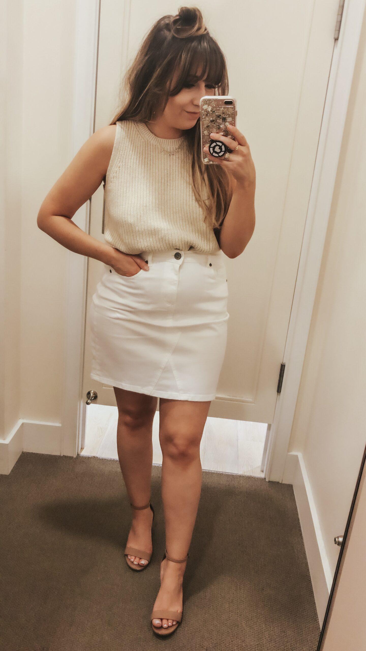 LOFT Spring - White jean skirt and Sleeveless sweater
