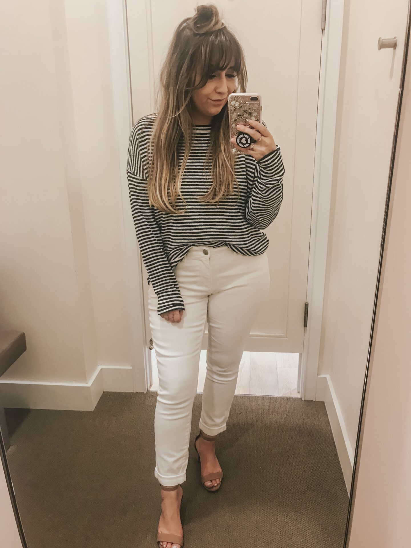 LOFT Spring - Striped sweater and white jeans