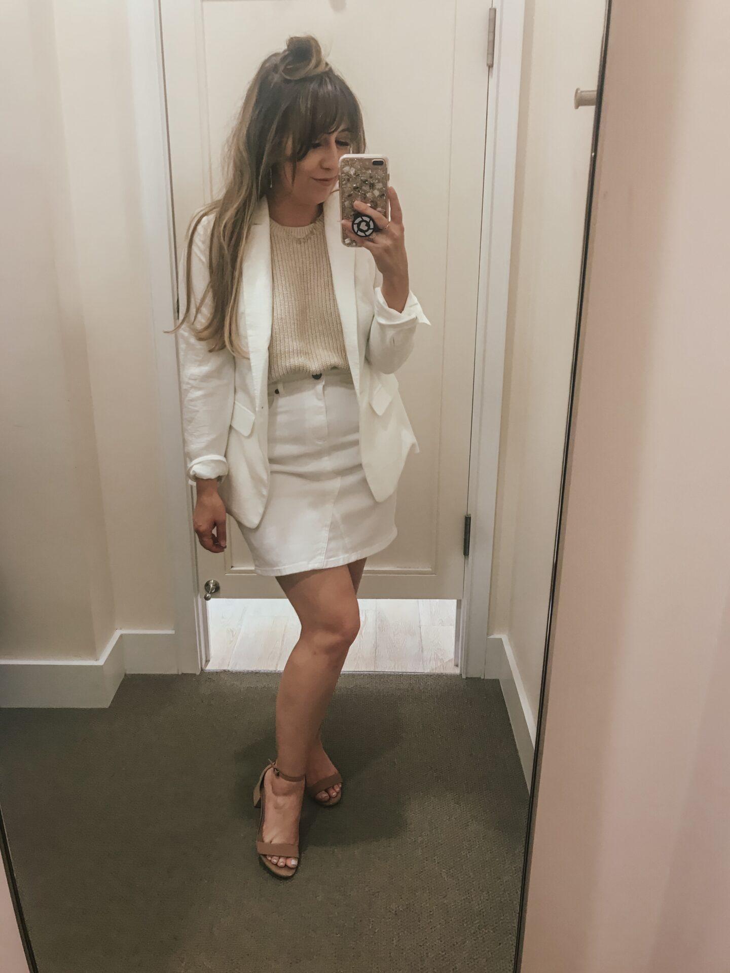 LOFT Spring - white denim skirt and blazer outfit