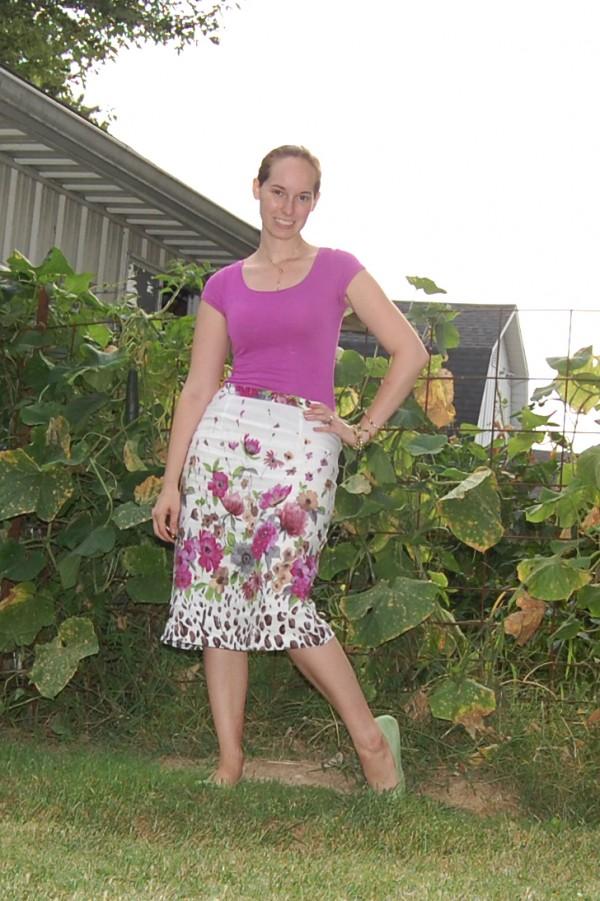 floral linen pencil skirt