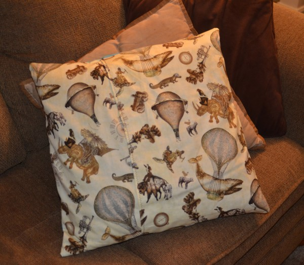 back of steampunk pillow