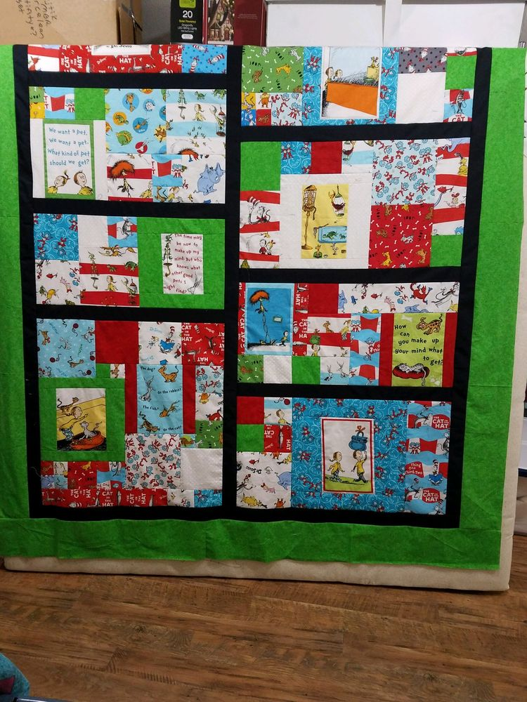 Cat in the Hat Communique Quilt shared on Pinterest