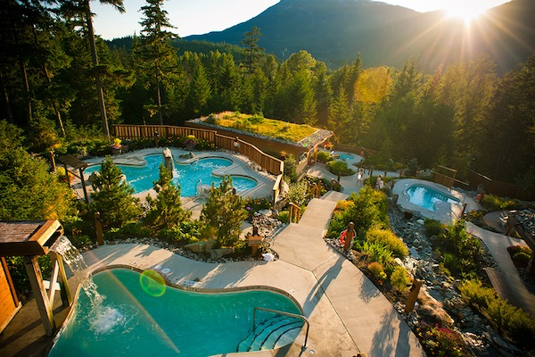 The pools at the Scandinave Whistler