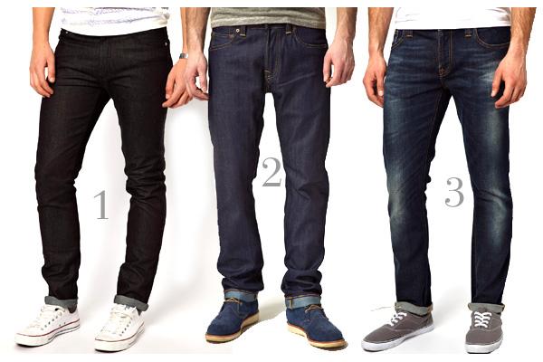 men slim dark jeans