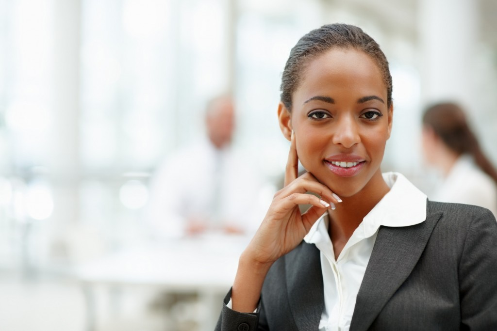 Portrait of an attractive African American business woman smiling confidently