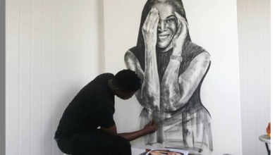 Photo of Watch: A Young Talented Artist Moves Connie Ferguson With A Beautiful Artwork Gift