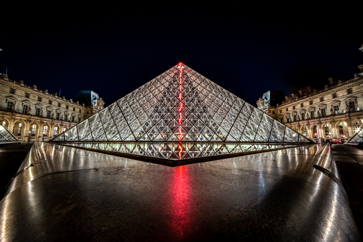 Louvre - Neon and Glass by Darwin. Taken with a Canon 6D and Rokinon 14mm f/2.8